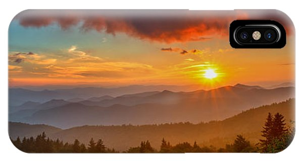 Blue Ridge Sunset Pano IPhone Case