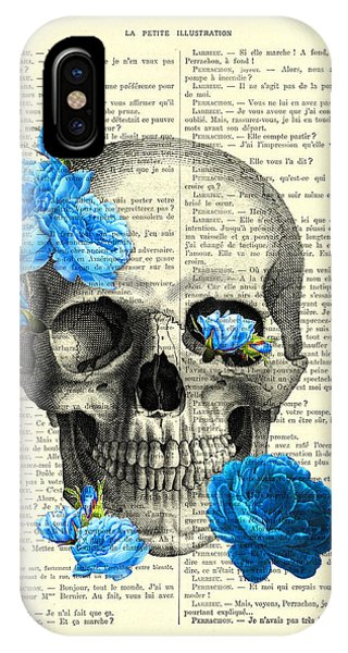 Floral iPhone X Case - Blue Roses With Skull Art Print by Madame Memento