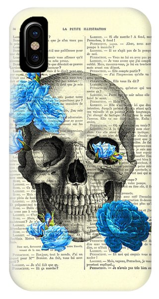 Anatomy iPhone Case - Blue Roses With Skull Art Print by Madame Memento