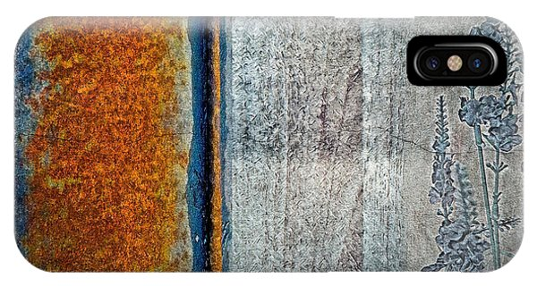 IPhone Case featuring the mixed media Blue Rust by Lita Kelley