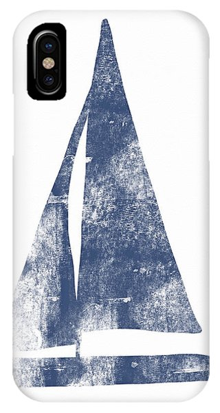 Texture iPhone Case - Blue Sail Boat- Art By Linda Woods by Linda Woods