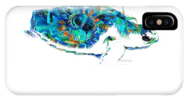 Blue Sea Turtle By Sharon Cummings  IPhone Case