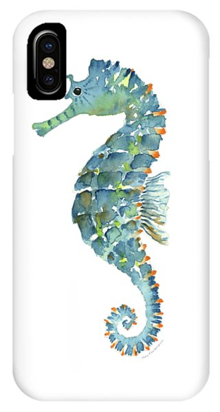 Seahorse iPhone Case - Blue Seahorse by Amy Kirkpatrick