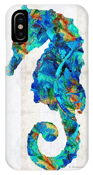 Seahorse iPhone Case - Blue Seahorse Art By Sharon Cummings by Sharon Cummings
