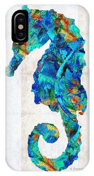 Seahorse iPhone Case - Blue Seahorse Art By Sharon Cummings by Sharon Cummings