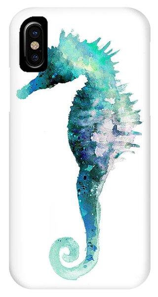Seahorse iPhone Case - Blue Seahorse Watercolor Poster by Joanna Szmerdt