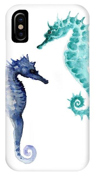 Fish iPhone Case - Blue Seahorses Watercolor Painting by Joanna Szmerdt
