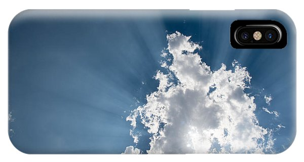IPhone Case featuring the photograph Blue Sky With White Clouds And  Sun Rays by Michalakis Ppalis