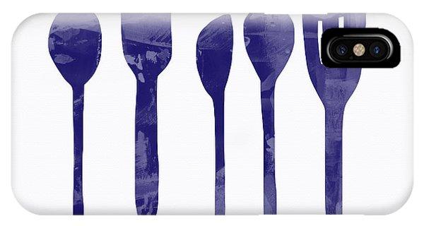 Food iPhone Case - Blue Spoons- Art By Linda Woods by Linda Woods
