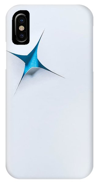 Minimalist iPhone Case - Blue Star On White by Scott Norris