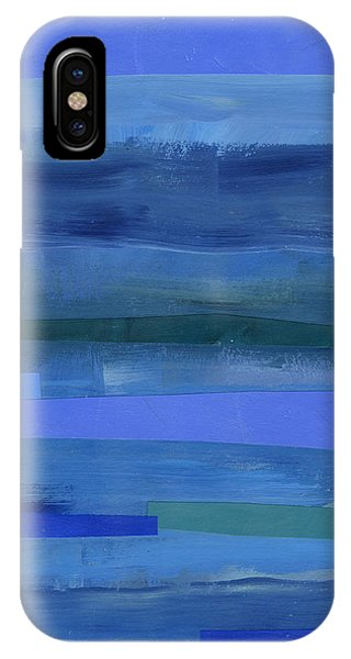 Abstract iPhone X Case - Blue Stripes 1 by Jane Davies