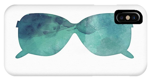 Glass iPhone Case - Blue Sunglasses 1- Art By Linda Woods by Linda Woods