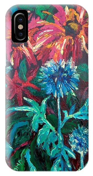 Blue Thistle And Bee Balm IPhone Case