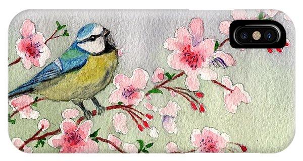 Blue Tit Bird On Cherry Blossom Tree IPhone Case