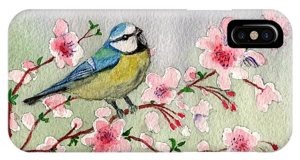 Blue Tit Bird On Cherry Blossom Tree IPhone Case