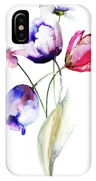 Blue Tulips Flowers With Wild Flowers IPhone Case