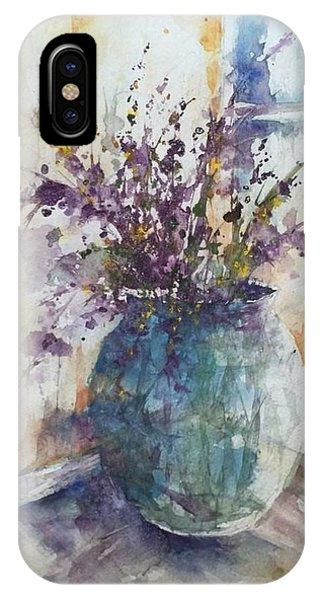 Blue Vase Of Lavender And Wildflowers Aka Vase Bleu Lavande Et Wildflowers  IPhone Case