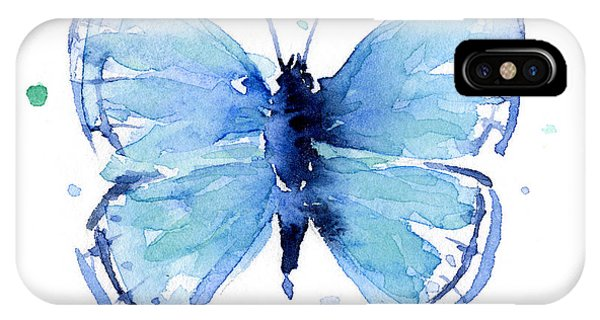 Insect iPhone Case - Blue Watercolor Butterfly by Olga Shvartsur