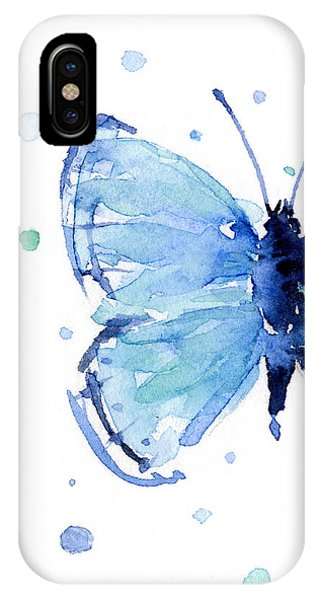 Insects iPhone Case - Blue Watercolor Butterfly by Olga Shvartsur