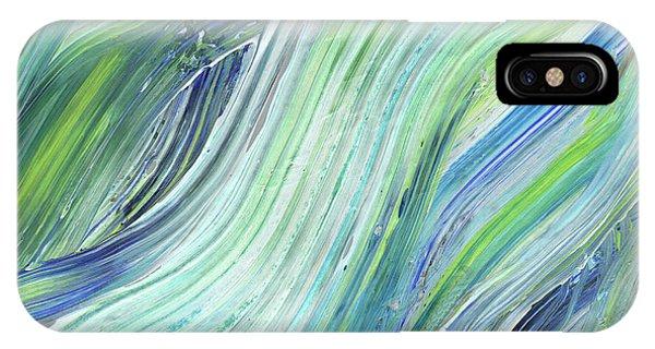 Organic Abstraction iPhone Case - Blue Wave Abstract Art For Interior Decor Vi by Irina Sztukowski