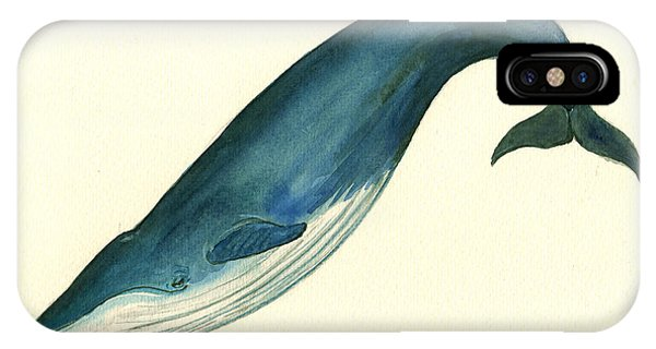 Whale iPhone Case - Blue Whale Painting by Juan  Bosco