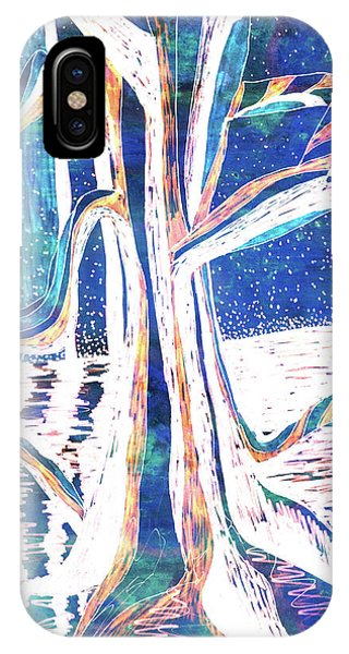Blue-white Full Moon River Tree IPhone Case