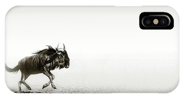 Open iPhone Case - Blue Wildebeest In Desert by Johan Swanepoel