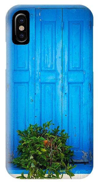 Greece iPhone X Case - Blue Window by Inge Johnsson
