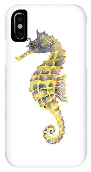 Seahorse iPhone Case - Blue Yellow Seahorse - Square by Amy Kirkpatrick