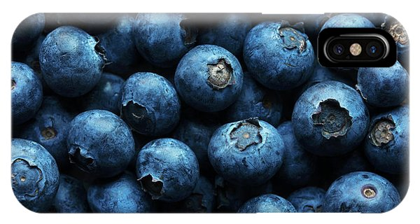 Blue Berry iPhone Case - Blueberries Background Close-up by Johan Swanepoel