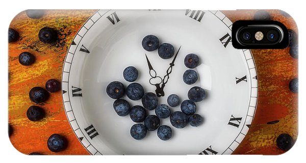 Blue Berry iPhone Case - Blueberries In Clock Bowl by Garry Gay