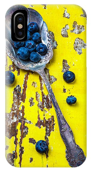 Blue Berry iPhone Case - Blueberries In Silver Spoon by Garry Gay