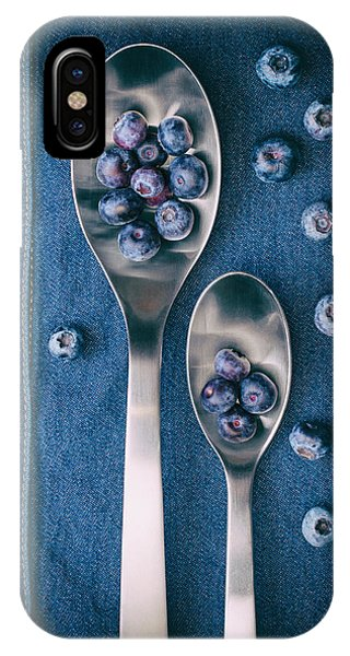 Blue Berry iPhone Case - Blueberries On Denim I by Tom Mc Nemar