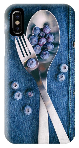 Blue Berry iPhone Case - Blueberries On Denim II by Tom Mc Nemar