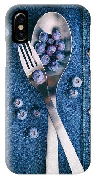 Blueberry iPhone Case - Blueberries On Denim II by Tom Mc Nemar