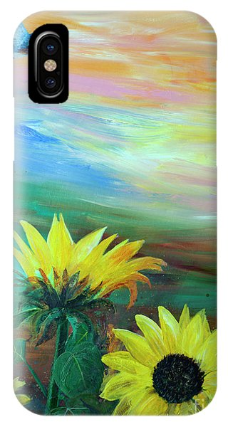 Bluebird Flying Over Sunflowers IPhone Case