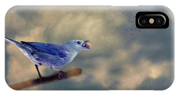 Blue Berry iPhone Case - Bluebird With Berry by Rebecca Cozart