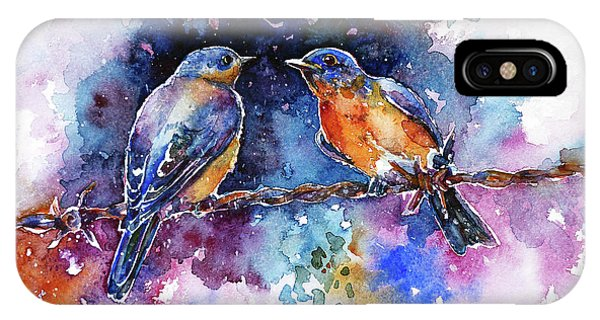 IPhone Case featuring the painting Bluebirds by Zaira Dzhaubaeva