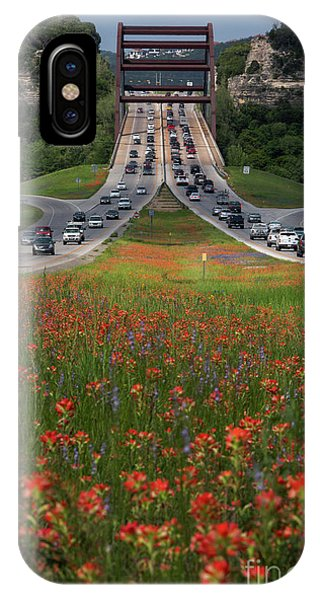 Scarlet Paintbrush iPhone Case - Bluebonnets And Indian Paintbrush Wildflowers Line The 360 Capit by Herronstock Prints