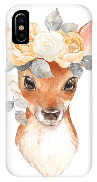 Cream iPhone Case - Blush Floral Deer by Pink Forest Cafe