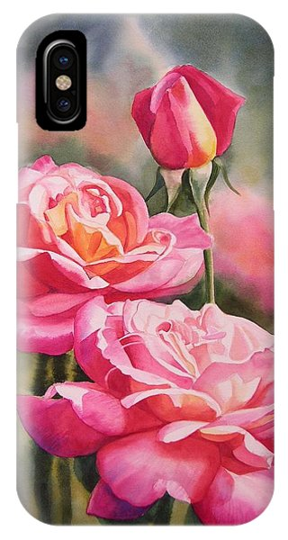 Pink iPhone Case - Blushing Roses With Bud by Sharon Freeman