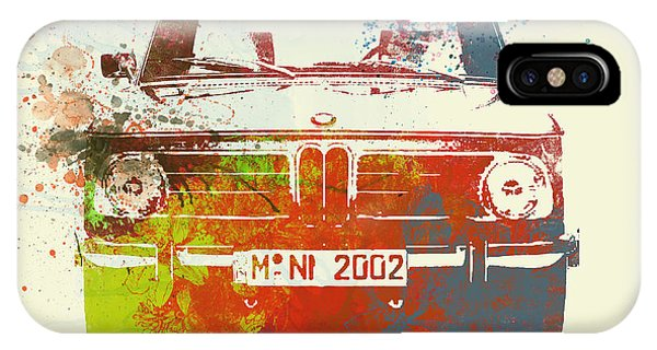 Classic Cars iPhone Case - Bmw 2002 Front Watercolor 2 by Naxart Studio