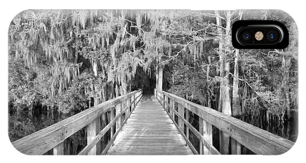 Boardwalk Into The Cypress In Black And White IPhone Case