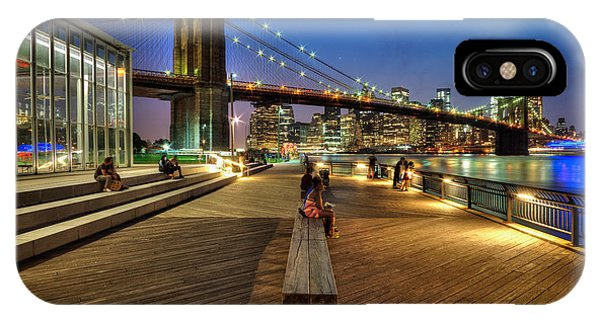 Boardwalk View At Brooklyn Bridge Park Phone Case by Daniel Portalatin