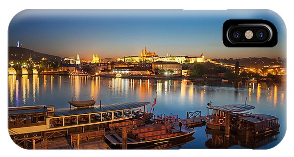 Boat Dock Near St. Vitus Cathedral, Prague, Czech Republic. IPhone Case