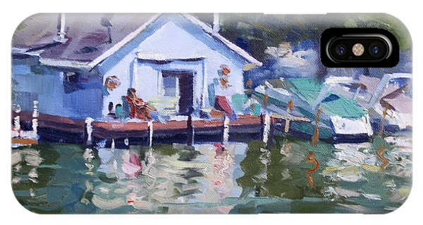 Waterscape iPhone Case - Boat House At Tonawanda Canal by Ylli Haruni