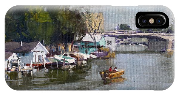 Waterscape iPhone Case - Boat Houses At North Tonawanda by Ylli Haruni