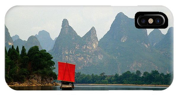 Departure iPhone Case - Boat On Li River, Mountains In Mist by Panoramic Images
