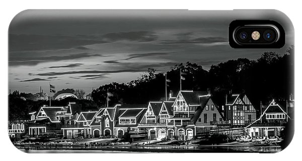 Boathouse Row Philadelphia Pa Night Black And White IPhone Case