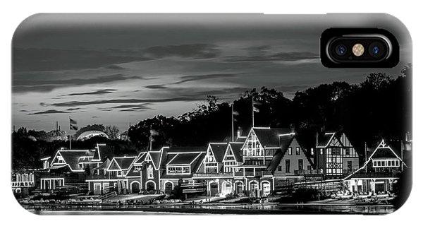 Boathouse Row Philadelphia Pa Night Black And White IPhone Case